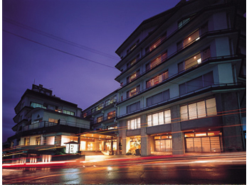 Hotel facade at night